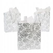 Medium Silver Rose Gift Bag